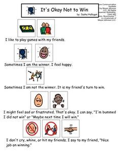 Visual Social Story Packet for Children with Autism: It's okay not to win