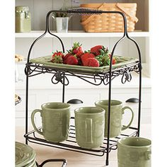Love products that help you make the most of limited space!  The 2 Tiered Stand helps you use your vertical space for storage and serving!  On sale in July!