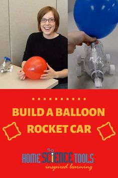"Build a balloon rocket car in 15 minutes! Learn about Newtons third law of motion: ""To every action there is an equal and opposite reaction. Balloon Rocket, Balloon Cars, Balloons, Science Project Video, Science Projects, Science Activities, Newtons Third Law, Newtons Laws, Summer Science"