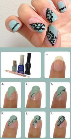 16 Cute Nail Tutorials You Won't Miss nagii Lace nails, Lace nail design tutorials - Nail Desing Lace Nail Art, Lace Nails, Nail Art Diy, Diy Nails, Gold Nails, Diy Nail Designs, Simple Nail Designs, Trendy Nail Art, Stylish Nails