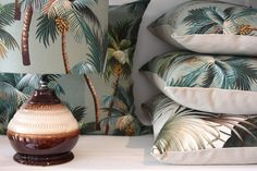 retro seagreen palm tree barkcloth by homeworksdesignstore on Etsy, $95.00