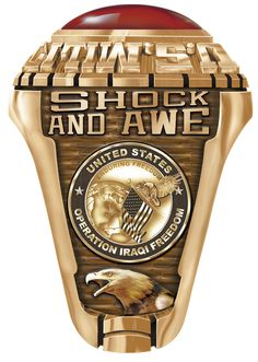 This ring is designed to commemorate a soldiers deployment during Iraqi Freedom. The text above the emblem can be changed to display the soldier's name or dates of deployment. It is a historic ring for and active or retired soldier. Us Navy Rings, Gold And Silver Rings, Usmc Ring, Marine Corps Rings, Army Rings, Military Gifts, Military Deployment, Freedom Rings, Shock And Awe