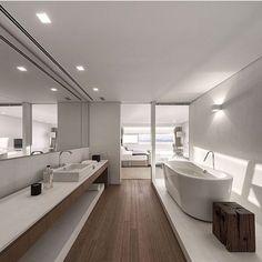 """1,180 Likes, 44 Comments - Fabi Vilela  @fabiivilela (@fabiarquiteta) on Instagram: """"Sala de banho, destaque para a mistura perfeita da madeira com branco e para o vidro que permitiu a…"""""""