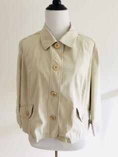 37c8cb40ca593 Talbots Womens Collar Blazers Size 16P Beige Button Down 3 4 Sleeves  Stretch  Talbots