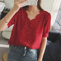 Buy Paila Dotted Short-Sleeve Blouse at YesStyle.com! Quality products at remarkable prices. FREE Worldwide Shipping available! Look Fashion, Korean Fashion, Womens Fashion, Fashion Tips, Fashion Trends, Fashion Ideas, Fashion 2018, Short Women Fashion, Ladies Fashion