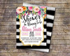 Baby Shower Invite Black and White Baby Shower by AWickedWhim