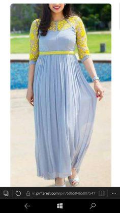 Dresses - Designer kurtis before they hit the market ArtsyCraftsyDad Long Gown Dress, Frock Dress, Long Gowns, Simple Kurti Designs, Kurta Designs Women, Long Dress Design, Dress Neck Designs, Indian Designer Outfits, Designer Dresses