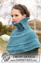 """Ravelry: 115-20 Short poncho knitted from side to side in pattern in """"Alaska"""" pattern by DROPS design"""