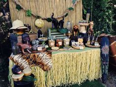 Amazing dessert table at a Jungle Safari party! See more party planning ideas… Safari Party, Jungle Party, Jungle Theme, Africa Theme Party, Lion King Baby Shower, Animal Party, Party Themes, Party Ideas, Birthday Parties