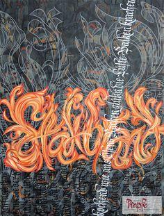 """""""Stadtbrand"""" - Das Bild, dessen Entstehung auf dem Video (hier auf der Pinnwand) zu sehen ist. #Calligraphity #Blackletter #Fraktur #Glocke"""
