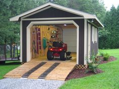 Hip roof 16 x20 workshop storage buildings | Or as one person did... a garage door on each end! Check it out!