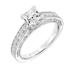 New for our Spring collection! Blanche: Vintage Diamond Prong Set Engagement Ring with Pinched Diamond Shank, Floral Filigree with Diamond Accents and Hand Milgrain Detail #artcarvedbridal #spring #whitegold #engagementring