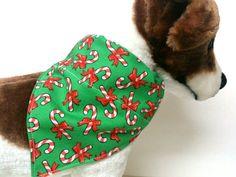 Candy Cane Dog Bandana by ELMEDO on Etsy, $8.50