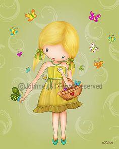 Children art print kids poster girl with butterflies di jolinne