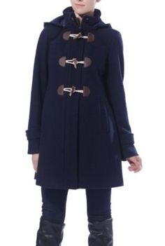Momo Maternity Women's 'Maisy' Wool Blend Pleated Duffle Toggle Coat - black is my best, but I like navy too