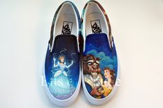 Items similar to Custom Hand Painted Shoes- Cinderella & Beauty and The Beast on Etsy Disney Inspired Fashion, Disney Artwork, Disney Shoes, Hand Painted Shoes, Paint Ideas, Beauty And The Beast, Artworks, Cinderella, Vans