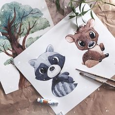 Learn To Draw Animals - Drawing On Demand Cute Illustration, Watercolor Illustration, Watercolor Paintings, Cute Drawings, Cute Animal Drawings, Disney Drawings, Watercolor Animals, Nursery Art, Painting Inspiration