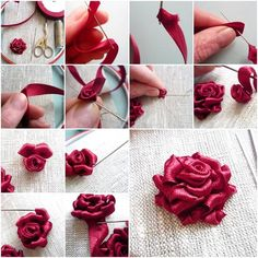 How to make Nice Beautiful Ribbon Rose step by step DIY tutorial instructions.