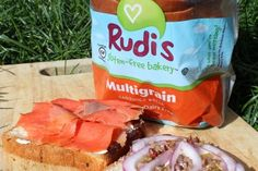 Smoked Salmon (Lox) Cream Cheese with Rudi's Gluten-Free and GMO-Free Multigrain Bread.  Who likes to add capers and or red onion slices?