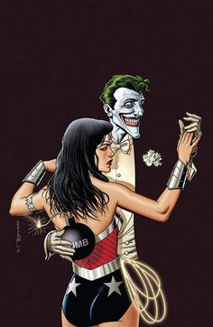 Wonder Woman - The Joker variant cover by Brian Bolland. Great homage to the Joker/Harlequin by Alex Ross. Alex Ross, Comic Book Artists, Comic Books Art, Comic Artist, Comic Book Characters, Comic Character, Batgirl, Justice League, Wonder Woman