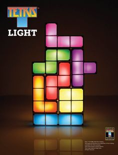 Light up the night with a game of Tetris! Check out our Tetris Lamp! Desk Light, Lamp Light, Night Light, Light Up, Mood Light, Table Led, Diy Pinterest, Led Desk Lamp, Geek Decor