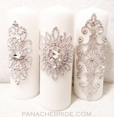 Velas de la unidad de la boda | Rhinestone adornado | Blanco o marfil