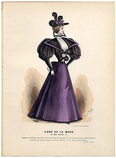 L'Art et la Mode 1895 N°44 Complete with colored engraving by Marie de Solar