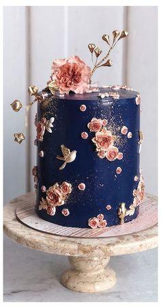 Pretty Wedding Cakes, Square Wedding Cakes, Wedding Cakes With Cupcakes, Elegant Wedding Cakes, Wedding Cake Designs, Pretty Cakes, Blue Wedding, Rustic Wedding, Fall Wedding