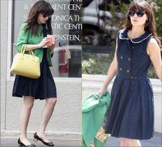 Steal Her Style- Zooey Deschanel in Retro Navy Dress and Yellow Prada Handbag