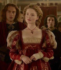 Waistline and slashed fore-sleeves.: Holliday Grainger as Lucrezia Borgia in The Borgias (TV Series, 2012).