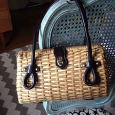 """Listing. Vintage Wicker Purse Leather Handles This retro purse is so cute. Measures 11.5"""" wide and 7.5"""" tall. Dark brown leather handles and brass detail. Gently used vintage condition. Vintage Bags"""