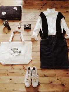 アクセサリー/atelier bloom コットンパール10mmピアス シャツ/FREAK'S STORE スカート/B'MING LIFE STORE by BEAMS ニット/niko and... ベルト/BEAMS BOY bag/MAISON KITSUNE shoes/nano・universe #DenimSkirts #Shirts #Style #Fashion #Casual #Outfits #Spring #Women