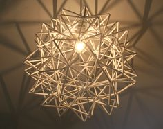 The Orion Pendant - White Himmeli Inspired Geometric Spherical Hanging Lamp White Pendant Light, White Light Bulbs, Pendant Lights, Origami Lights, Origami Lamp, Origami Paper, Uno Lamp Shades, Lampshade Redo, Hanging Lamp Shade