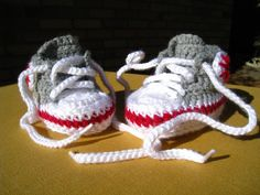 Crochet pattern- baby high tops,baby booties, baby sneakers, baby tennis shoes, baby basketball shoe, photo prop, PDF pattern. $4.95, via Etsy.