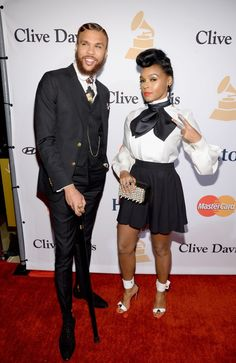 58th GRAMMY nominee Jidenna and Janelle Monáe arrive at Clive Davis' and The Recording Academy's Pre-GRAMMY Gala on Feb. 14 in Beverly Hills, Calif.