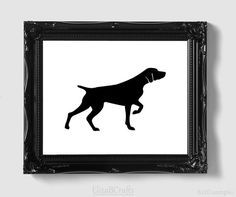 German Shorthaired Pointer Silhouette - Hand-cut Original Dog Art Mounted on Watercolor Paper