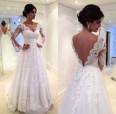V-Neck Backless Long Sleeve Court Lace Wedding Dress - m.tbdress.com