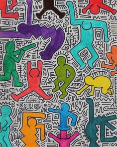 Keith Haring Kids, Keith Haring Prints, Keith Haring Poster, Wallpaper Wall, Middle School Art Projects, Dancing Figures, 6th Grade Art, Art Lessons Elementary, Art Lesson Plans