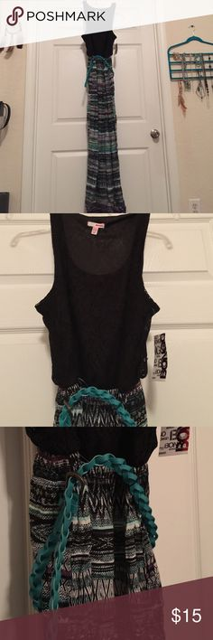 BONGO long dress BONGO long dress with belt. Top part is lacey black second half is patterned. BRAND NEW BONGO Dresses Maxi
