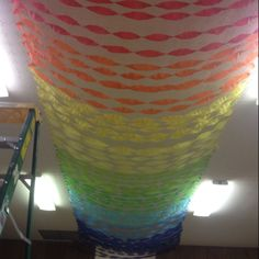 Sky vbs rainbow we made on the ceiling in the fellowship hall!! :)