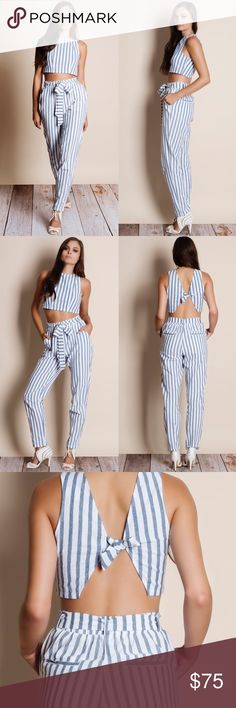 """Striped Crop Top Pants Set Striped crop top pants set. Junior sizing. This is an ACTUAL PIC of the item - all photography done personally by me. Model is 5'9"""", 32""""-24""""-36"""" wearing the size small. NO TRADES DO NOT BOTHER ASKING. PRICE FIRM. Bare Anthology Pants"""