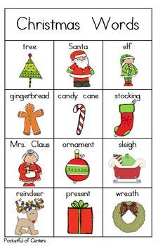 Christmas Writing Center Mini Packet - Good idea to have words they will use on display - Especially good for the firsties. Christmas Writing, Christmas Words, Preschool Christmas, Christmas Activities, Christmas Deco, English Words, English Lessons, Learn English, Writing Activities