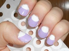 Half Moon nails-   1. paint nails white (or whatever color)  2. put stickers shown at the bottom of your nails  3. paint color of your choice and let dry  4. peel off stickers