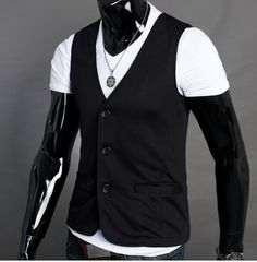 Casual Men Street Fashion. Casual Vest for Men works perfectly with Tee Shirt of any style. Check out our Black Vest, Gray Vest for Men and comes in light gray or dark gray. Material : Cotton Blend Si