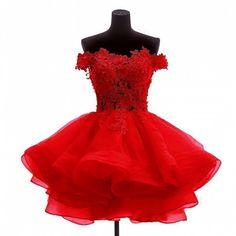 Angela Off the Shoulder Organza Short Prom Homecoming Dresses Red 2