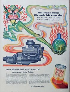 Shell X 100 Motor Oil  50 s print ad  Full Page Color Illustration   acid action  Life Magazine Art