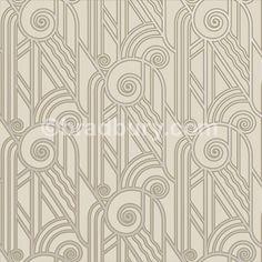 Volute Art Deco Style Wallpaper in Platinum | Bradbury & Bradbury