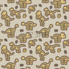 cute dinosaur silhouette: Seamless, Tileable Pattern with Dinosaur Bones and Fossils Illustration