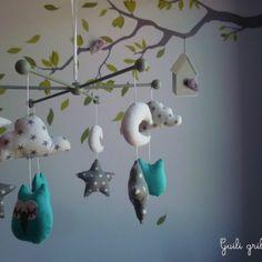 mobile BIRDS hiboux gris/bleu