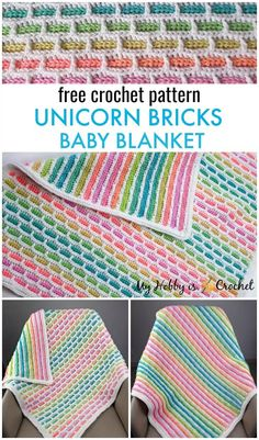 baby blanket The Unicorn Bricks Baby Blanket looks lovely on both sides! While on the right side youll have the lovely brick stitch pattern, on the wrong side youll get a pretty striped r Crochet Unicorn Blanket, Crochet Unicorn Pattern, Crochet Blanket Patterns, Crochet Blankets, Crochet Afghans, Blog Crochet, Free Crochet, Crochet Baby, Crochet Ideas